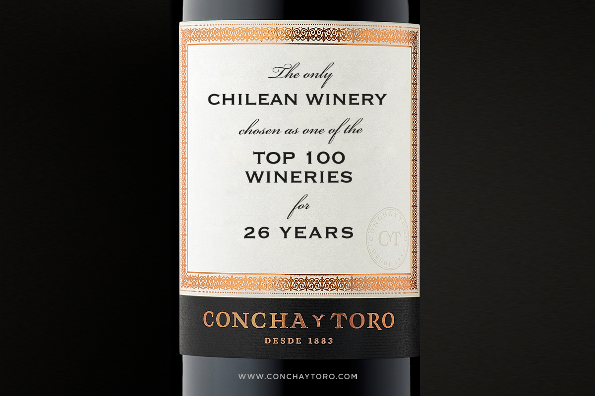Concha y Toro is the second winery with most mentions in Top 100 Best Winery of the Year